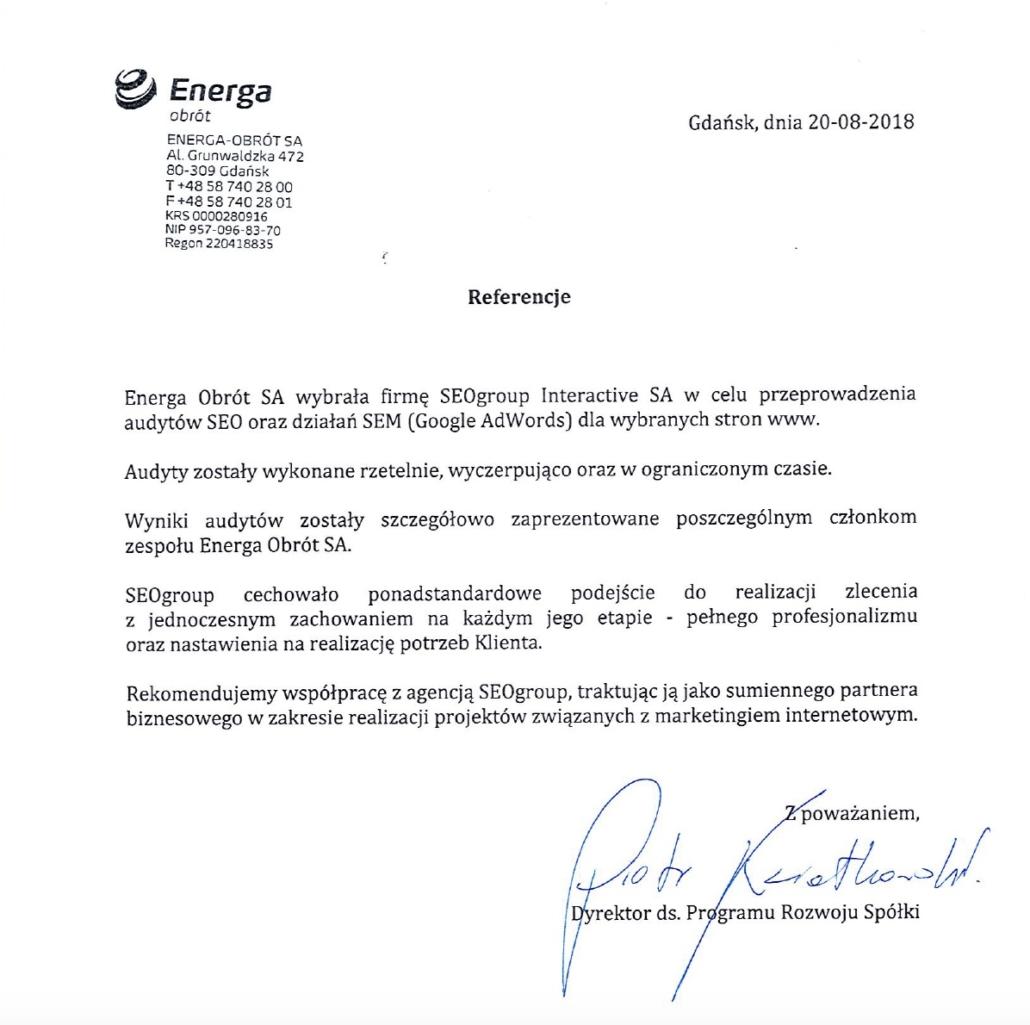 Energa - referencje