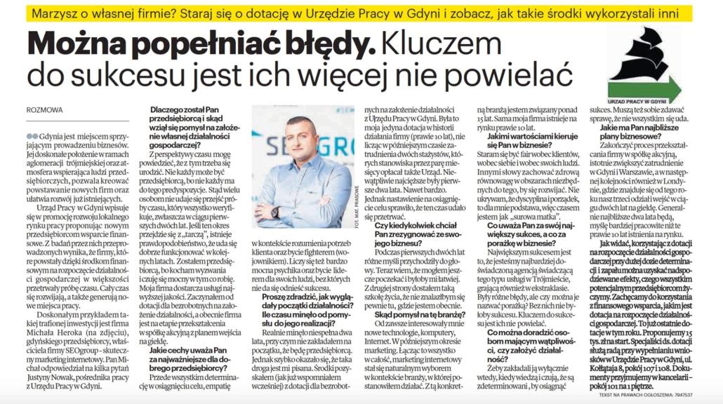 Wywiad z szefem SEOgroup Michałem Herokiem w Dzienniku Bałtyckim