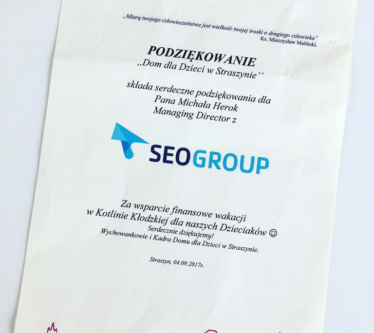 Podziękowania dla SEOgroup od Domu dla Dzieci w Straszynie