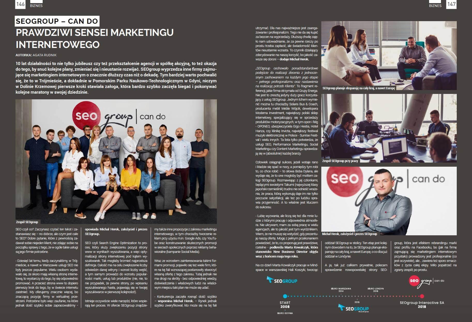 """SEOgroup - Can Do: Prawdziwi Sensei Marketingu Internetowego. Artykuł o SEOgroup w """"Prestiż. Magazyn Trójmiejski"""""""