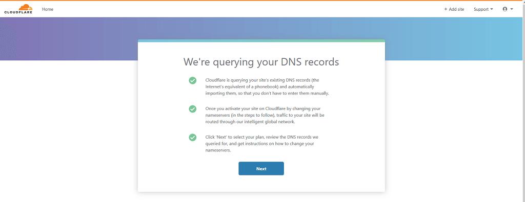 Zrzut ekranu z informacją o skanowaniu rekordów DNS dodawanej strony