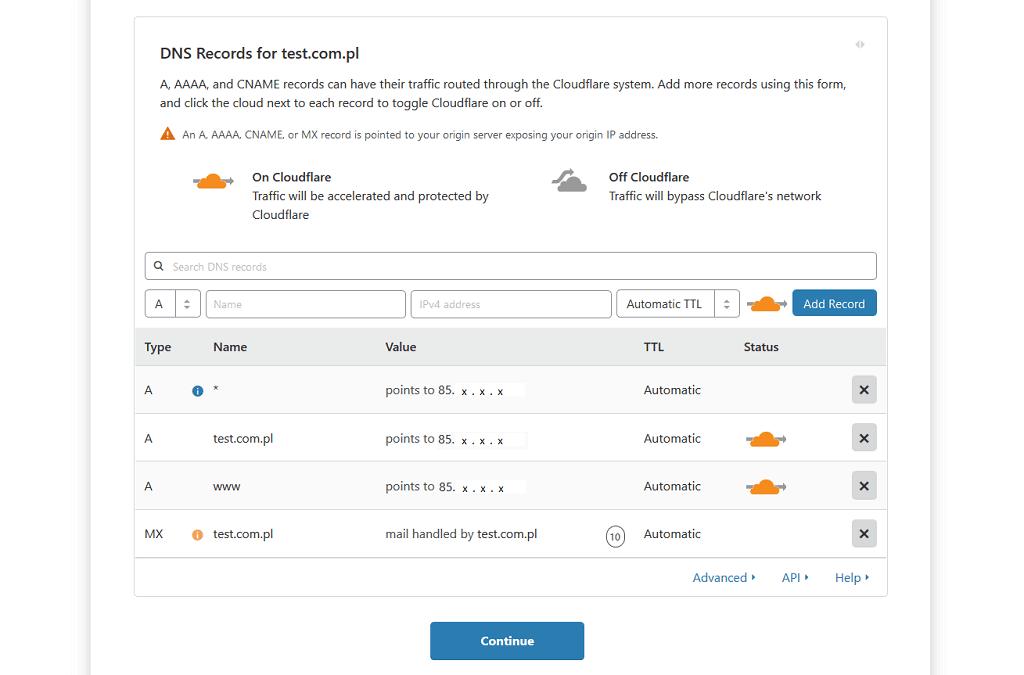 Wyniki skanu rekordów DNS dla przykładowej domeny test.com.pl