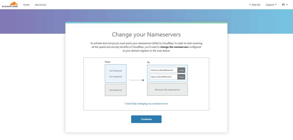 Ekran instruktażowy zmiany serwerów DNS