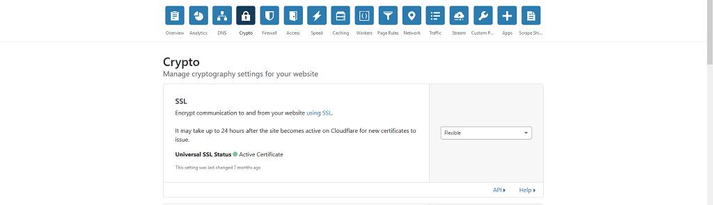 Panel konfiguracyny witryny dodanej do Cloudflare