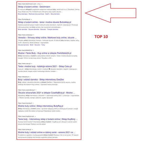 TOP10 wyników wyszukiwania