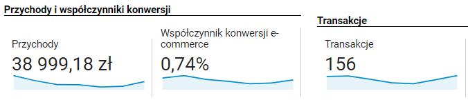 Przykładowe dane dotyczące współczynnika konwersji z raportu ecommerce w Google Analytics