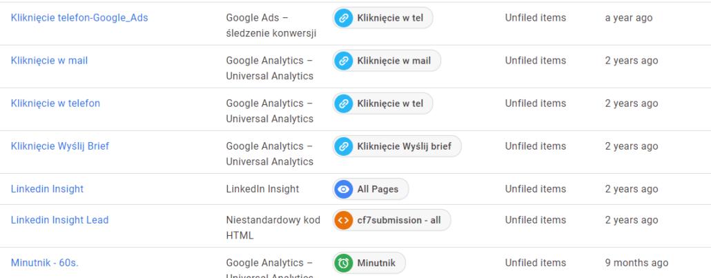 Przykładowe tagi wysyłające zdarzenia do Google Analytics. Na ich podstawie definiowane są cele w Google Analytics.