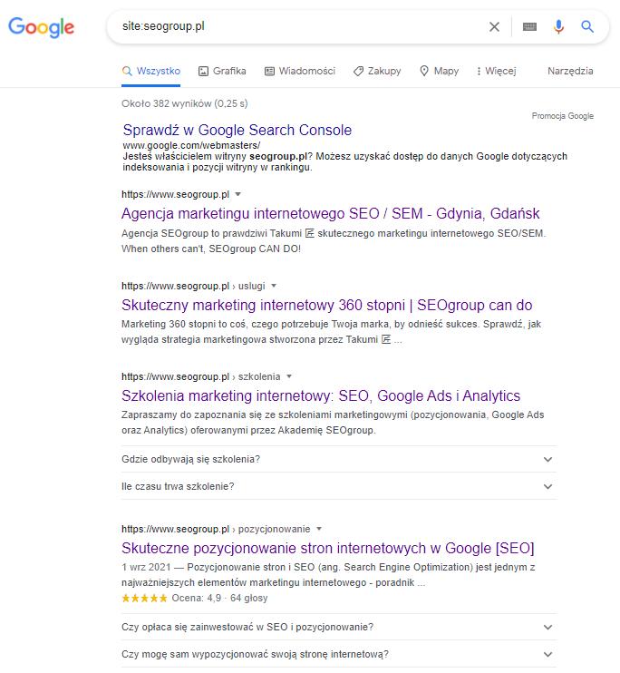 """Wyniki w Google po wpisaniu zapytania """"site:seogroup.pl"""""""
